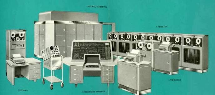 Arquitectura del UNIVAC  Conversor de tarjetas perforadas a cinta  Computadora central  Panel principal  Dispositivos de entrada y salida